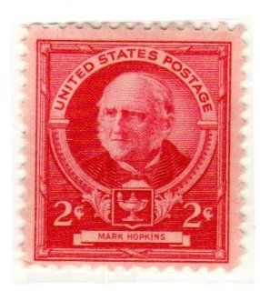 Postage Stamps United States. One Single 2 Cents Rose Carmine, Famous Americans Issue, Educators, Mark Hopkins, Dated 1940, Scott #870.