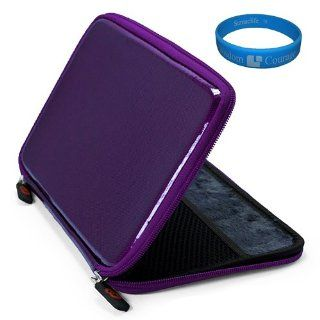 Purple EVA Carbon Fiber Durable Protective Hard Cube Carrying Case with Soft Lushly Interior Fur Padding for  Kindle Fire 7 inch Multi Touch Screen Tablet   8GB Android Wireless (Wifi) Tablet + SumacLife TM Wisdom Courage Wristband Kindle Store