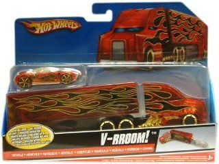 1 /64 HOT WHEELS V RROOM TRANSPORT TRUCK PLUS HOT WHEELS VEHICLE Toys & Games