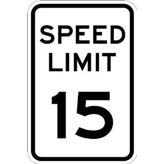 "SmartSign MUTCD # R2 1 15 3M High Intensity Grade Reflective Sign, Legend ""Speed Limit 15"", 18"" high x 12"" wide, Black on White Industrial Warning Signs"