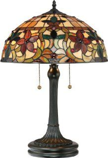 Quoizel TF878T Kami 2 Light Tiffany Table Lamp, Vintage Bronze Finish