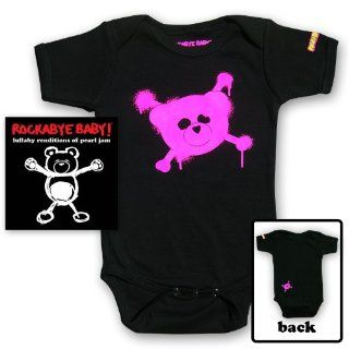 Rockabye Baby Lullaby Renditions of Pearl Jam + Rockabye Baby 100% Organic Cotton Onesie (Pink) Music