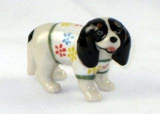 CAVALIER KING CHARLES SPANIEL tri colored Dog n Sweater w/Flowers SUPER MINIATURE Porcelain Figurines KLIMA L885F   Collectible Figurines