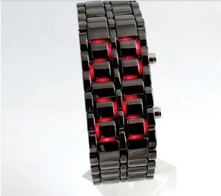 USAMZ909 New Bright Black Jewelry Lava Iron Samurai Metal Volcanic Lava Red LED Stainless Steel Band Watch Watches