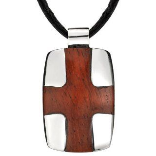 Modern and Masculine Designer Style Stainless Steel High polish Dog Tag with Redwood Cross Pendant on a Black Cord Peora Jewelry