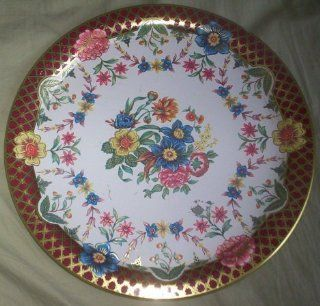 Daher Decorated Ware Tin Metal Vintage Floral Saucer Serving Plate  Other Products