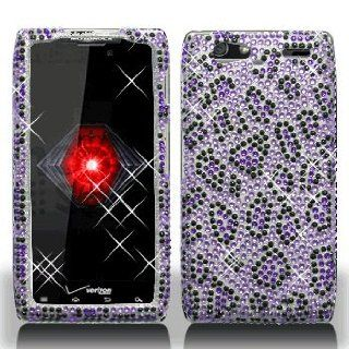 Motorola Droid RAZR Maxx XT916 XT 916 Cell Phone Full Crystals Diamonds Bling Protective Case Cover Black and Purple Leopard Animal Skin Design Cell Phones & Accessories