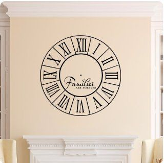 Families Are Forever Clock Face Wall Decal Roman Numerals Time Wall Decal Sticker Art Mural Home D�cor Quote