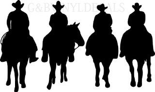COW BOYS WESTERN HORSES HORSE RIDERS SILHOUETTE WALL LETTERING VINYL DECAL LARGE SIZE   Wall Decor Stickers