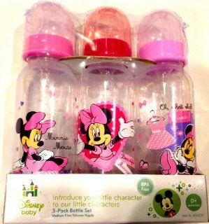 Disney Baby 3 pack 9oz Bottle Set Pink Minnie Mouse BPA Free 0+ Months Medium Flow  Bottles With Minnie  Baby