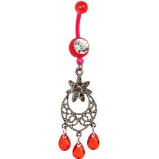 Bioplast Red Lily Chandelier Belly Ring Body Piercing Barbells Jewelry