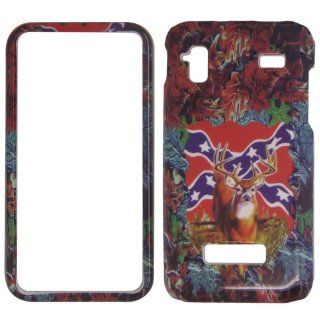 Samsung Captivate glide i927   Deer & Rebel Flag on Camo Camouflag Shinny Gloss Finish Hard Plastic Cover, Case, Easy Snap On, Faceplate. Cell Phones & Accessories