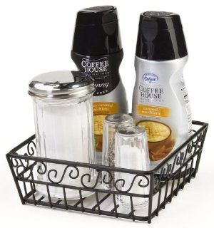 Set of 6, Square Wire Baskets with Decorative Scroll Design, Open Style Design, 7 x 2 1/2 x 7 Inch, Steel, Black Kitchen & Dining