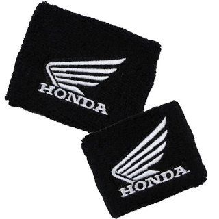 Honda Wing Black/White Brake/Clutch Reservoir Sock Cover Set Fits CBR, 600, 1000, 600RR, 1000RR, 954, 929, RC51 Automotive