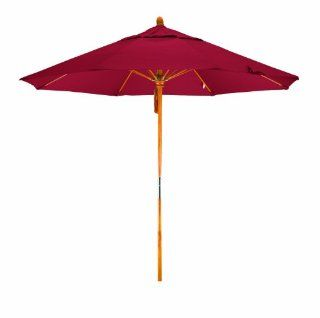 California Umbrella 9 Feet Pacifica Fabric Pulley Open Wood Market Umbrella, Red  Patio Umbrellas  Patio, Lawn & Garden