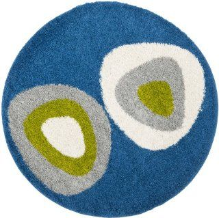 Safavieh SG912 6591 Shag Collection Round Area Rug, 5 Feet, Blue/Multi   Round Bath Rug