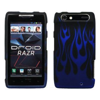 Black Blue Flame Design Rubberized Snap on Hard Cover Protector Shell Skin Case for Verizon Motorola DROID RAZR XT912 + LCD Screen Guard Film + Mini Phone Stand + Case Opener Cell Phones & Accessories