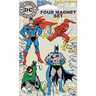 DC Comics Superheroes Four Piece Refrigerator Magnet Set   Batman, Flash, Green Lantern, & Superman Kitchen & Dining