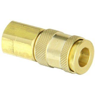 "Dixon Valve 2UF3 B Brass Automatic Universal Pneumatic Fitting, Socket, 1/4"" Coupler x 3/8""   18 NPT Female Thread Quick Connect Hose Fittings"