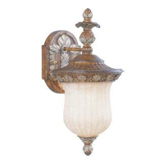 Livex Lighting 8483 1 Light 100W Outdoor Wall Sconce with Medium Bulb Base and Vintage Carved Scavo, Venetian Patina   Wall Porch Lights