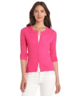 Evolution by Cyrus Women's 3/4 Sleeve Pointelle Crew Neck Cardigan, Pink, Small Cardigan Sweaters