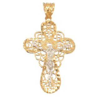 14k Two Tone Gold Layered Cross Crucifix Pendant Jewelry