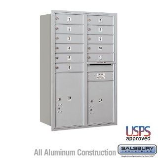 Salsbury Industries 3712D 11ARU 4C Horizontal Mailbox   12 Door High Unit (44 1/2 Inches)   Double Column   11 MB1 Doors / 1 PL5 and 1 PL6   Aluminum   Rear Loading   USPS Access   Security Mailboxes
