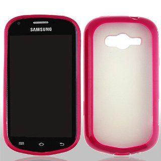 Frosted Clear Hot Pink Hard Cover Case for Samsung Galaxy Reverb SPH M950 Cell Phones & Accessories