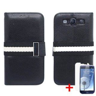 SAMSUNG GALAXY S3 BLACK WHITE STRIPE LOCK FLIP COVER WALLET ID CASE + FREE CAR CHARGER from [ACCESSORY ARENA] Cell Phones & Accessories