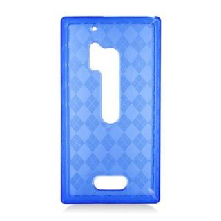 Nokia Lumia 928 (Verizon) One Piece TPU Rubber Case Cover, TransParent Blue + LCD Clear Screen Saver Protector Cell Phones & Accessories