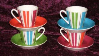 KATE SPADE COLLINS STRIPE 4 Demitasse Cup and Saucer in Box Kitchen & Dining