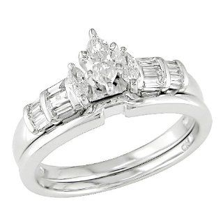 14k White Gold Diamond Wedding Ring Set (0.5 Cttw, G H Color, I1 I2 Clarity) Jewelry