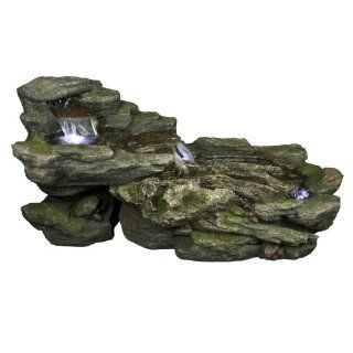 Yosemite Home Decor CW10020 Cascading Rock Fountain with LED Accent Lighting  Free Standing Garden Fountains  Patio, Lawn & Garden