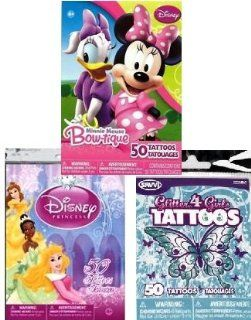 "Disney Princess. ""Glitter 4 Girls"", & Minnie Mouse Bow Tique Tattoo Bundle (3 packages   50 Tattoos per Package)"