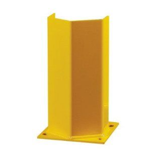 "Hallowell HPP 018 Safety Yellow Post Protector with Welded on 7"" x 7"" Anchoring Plate, Heavy Duty Steel, 6"" Width x 18"" Height x 4.25"" Depth, Knock Down Industrial Warning Signs"