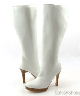 WILD DIVA Katrina White Knee High Boots, 9 Shoes