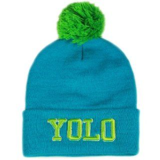 City Hunter Sk961 Yolo Neon Pom Beanie Hat   Neon Blue  Other Products