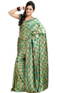 Celadon Green and Peach orange Crepe Silk and Jacquard Printed Saree in Large Size Clothing