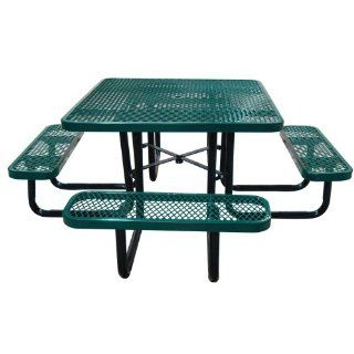 Leisure Craft Commercial Square Expanded Metal Picnic Table   T46SQP GREEN  Metal Round Picnic Tables  Patio, Lawn & Garden