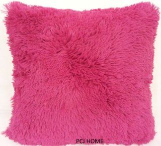 "STUNNING SOFT FAUX FUR CERISE FUCHSIA PINK 18"" THICK FLUFFY CUSHION COVER PILLOW CASE SHAM"
