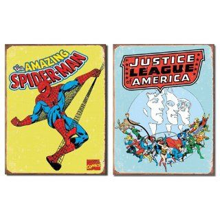 Nostalgic Superhero Tin Metal Sign Bundle   2 comic book hero signs Spider Man Retro & Justice League of America Retro 0114   Decorative Signs