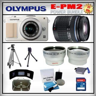 Olympus PEN E PM2 White 16MP Digital Camera   Olympus 14 42mm Lens   Olympus 40 150mm Lens   Wide Angle and Telephoto Zoom Lens   32GB SDHC Memory Card   USB Memory Card Reader   Memory Card Wallet   Carrying Case   Lens Cleaning Kit   Full Size and Mini T