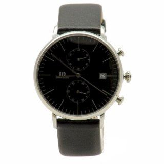 Danish Design IQ13Q975 Stainless Steel Case Black Leather Band Black Dial Chronograph Men's Watch Watches