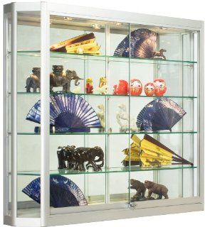 Silver Aluminum Glass Display Cabinet, 47 1/4 x 39 1/2 x 8 Inch, That Is Illuminated, Wall Mounted, Has Locking Sliding Glass Doors, And Ships Fully Assembled  Home Office Furniture
