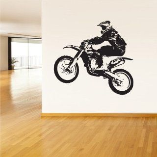Room Wall Vinyl Sticker Decal Mural Design Dirt Bike Motorcycle Racer Racing on Dirt Sport 953   Wall Decor Stickers