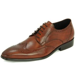 Natazzi Italian Napa Calfskin Leather Shoes Hand Made Men's Rosato Lace Up Wingtip Oxford Model Gabbana L 5012 Antique Look Brown (7.5 D(M) US / 40.5 (M) EU) Darya Trading Shoes