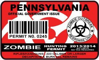 Pennsylvania Zombie Hunting Permit Sticker Size 4.95x2.95 Inch (12.5x7.5cm) Cut Decal outbreak response team united states Automotive