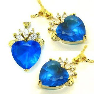 Rizilia Jewelry Stylish Lady Gold Plated Cz Heart Cut Aqua Blue Color Amazing Pendant Necklace Chain for Dress Jewelry