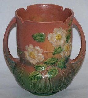 Roseville Pottery White Rose Pink Vase 985 8   Decorative Vases