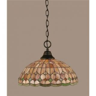 Toltec Lighting 10 MB 988 One Light Chain Hung Pendant, Matte Black Finish with Rosetta Tiffany Glass   Ceiling Pendant Fixtures